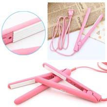 2017 Mini hair straightener Ceramic hair flat iron Straightening corrugated Curling Iron switch Styling Tools Hair Curler Pink(China)