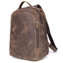 Vintage Stylish Men Backpack Real Leather 14 inch Laptop Bag Young Male Bag Book bag school bag For Boys and Girls PR573072