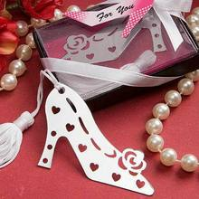 DHL Free Shipping,50Pcs Unique Design Stylish Book Lovers Collection Shoe Bookmark Bridal Wedding Favors and Gift For Guest