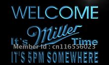 LA673- It's 5 pm Somewhere Welcome Miller Neon Sign home decor shop crafts(China)