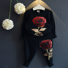 Kids Clothing Sets 2016 New Winter Girls Boys Clothes Graffiti Printing Sweatshirts+Casual Pants 2Pcs for Girls Suit
