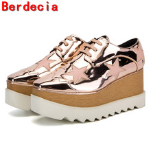 Berdecia designer shoes tenis feminino platform shoes pink lace up causal shoes high top wedges runway women shoes 2017