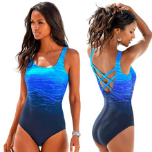 Women Swimsuit Mayo Plavky Push-Up One-Piece Sexy Beach Gradient Print Criss Cross-Back