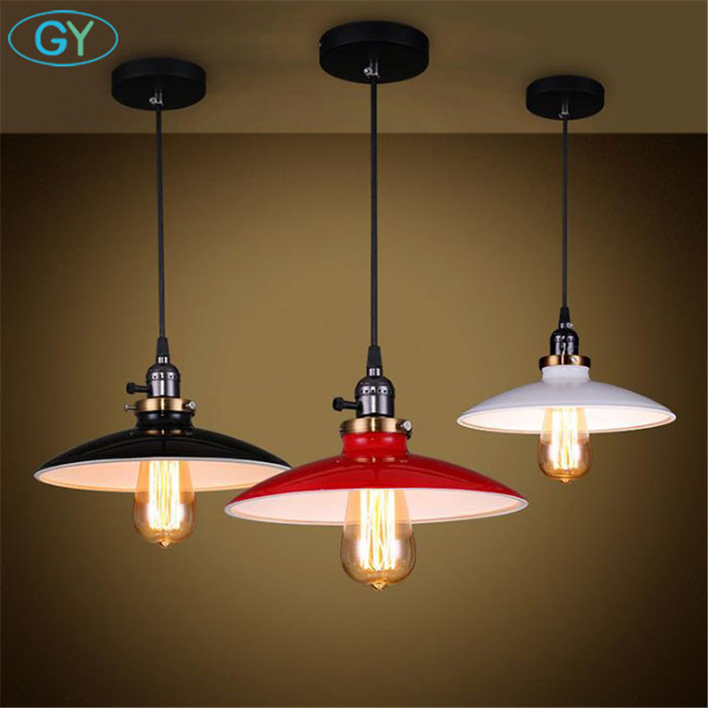 AC100-240V white black Red lampshade pendant lights industrail Edison knob switch hanging lamp hanglampen voor eetkamer<br>