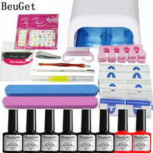Nail Art Manicure Tools 36W UV Lamp + 6 Color 35g soak off Gel base gel top coat polish and Remover Practice set File kit(China)