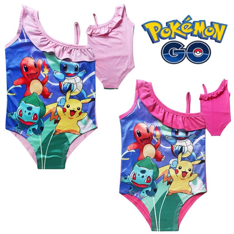 2019 Summer New Kids cartoon Pikachu Swimsuit Dress Cartoon Pokemon Go Cute Bikini Baby&Girls Beach swimsuit Bathing Bikini