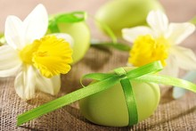 Daffodils and Green Easter Eggs Poster Art Silk Fabric Wall Print Picture For Home Decoration