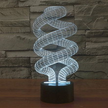 Helix DNA Gun Math Number 3D Led Visual Light Creative Table Lamp Toys USB Touch Sensor Craft Home Illumination Indoor