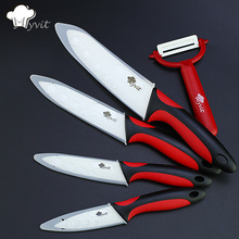 "Kitchen Ceramic Knife Cooking set 3"" 4"" 5"" 6"" inch + peeler White Blade Paring Fruit Vege Knife Kitchen Knives"