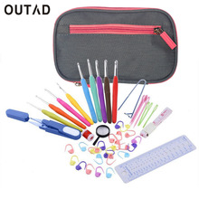 OUTAD Soft Handle Crochet Hooks Needles Stitches Knitting Craft Gray Case Crochet Set in Case Yarn Hook Stitch Weave Accessories