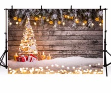 Christmas Background Vinyl Photography Backdrop Christmas tree Candles Gifts Children Photo Backdgrounds for Studio ZR-196(China)
