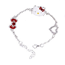 Charming Cute Hello Kitty Bracelet For Women With Peach Heart Bow feminina love bracelet Wholesale Free Shipping