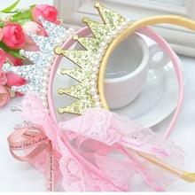 1 pcs Elegant Kids Girls Pearls Resin Diamond Lace Bow Ribbon Crown Princess Hair Accessories Hair hoop Hairband