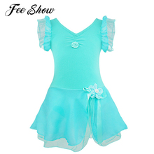 Kids Girls Ballet Dress Gymnastics Leotard Ballet Tutu Dress Short Sleeve Kids Ballet Dance Dress Girls Dress Dancewear Costume(China)