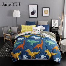 JaneYU fabric Home Textile dinosaur bedding sets 4pcs/set 3D Reactive Printed Bedding Set Bedclothes Suit(China)