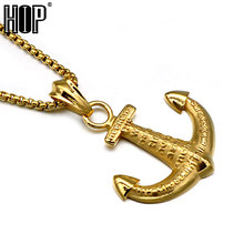 HIP Punk IP Gold Color Stainless Steel Titanium Hope HEBREWS Anchor Pendants Necklaces for Men Jewelry