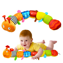 New Cartoon Musical Caterpillar Educational Baby Toy With Ring Bell Stuffed Plush Animal Kids Toys Baby Rattles Mobiles 55cm(China)