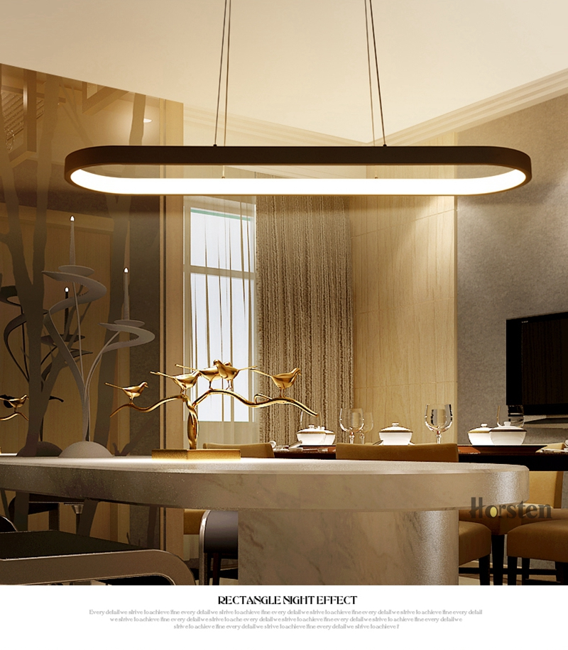 Modern Minimalism Oval Ring LED Pendant Lights Aluminum Acrylic Suspension Hanging Lamps For Dining Room Restaurant Office (4)
