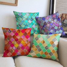 Vogue red green blue colorful geometry pattern Sofa car coffee shop hotel Home Cushions Cover Decoration Pillow case for gift(China)