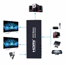 Professional 4x2 HDMI Matrix HDMI Switcher Support ARC 4Kx2K HDMI Splitter Hub Box For HDTV DVD Black US Plug
