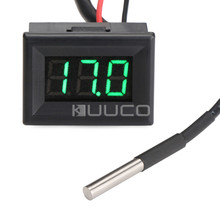 DC 12V 24V Green Led Digital Thermometer -55 ~125 Celsius Degrees Temperature Meter for Car/Water/Air/Indoor/Outdoor etc(China)