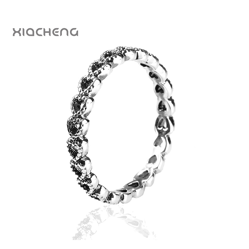 Authentic 925 Sterling Silver Wedding Ring Charm Hollow Out Heart with  Heart Women XIACHENG Ring Fit