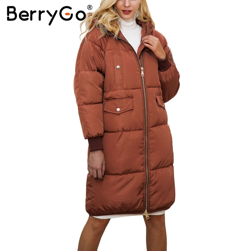 BerryGo Streetwear large sizes winter jacket coat women Casual long coat female autumn outerwear Fashion warm parka jacket coatÎäåæäà è àêñåññóàðû<br><br>
