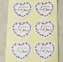 "100PCS/lot New Vintage white heart design ""ESPECIALLY for you"" series seal  sticker DIY note gift  Labels  DIY baking goods"
