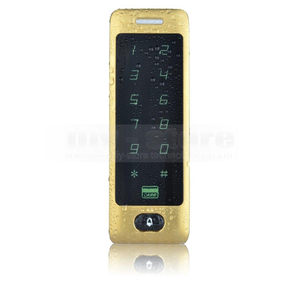DIYSECUR Golden 125KHz Rfid Card Reader Door Access Controller System Password Touch Keypad 8000 Users<br>