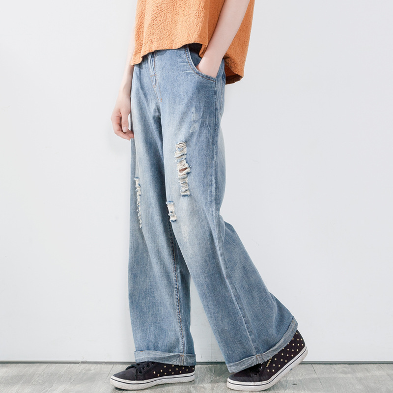 Women Bleached Holes Ripped Jeans Ladies Cuffs Denim Pants Loose Wide Leg Denim Trousers Washed Vintage Jeans RetroÎäåæäà è àêñåññóàðû<br><br>