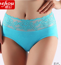 Free Shipping women underwear sexy ladies lace shorts cotton briefs Shrimp Black Grass Green Coffee Size L XL XXL XXXL R1(China)
