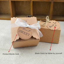 20pcs/lot Corrugated Kraft Paper Vintage DIY Wedding Sweet Box With Ribbon And Card Birthday Party Favor Gift Box Blank Card(China)
