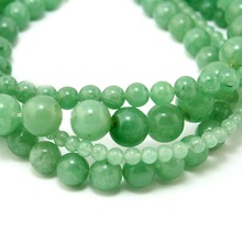 High Quality 4.6.8.10mm Natural charms Green Aventurine Round Stone Beads fit for bracelet & DIY jewelry making (BTB)(China)