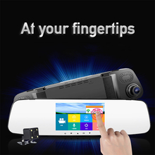 Dual lensFull HD 1080P dashcamera Touch screen 4.3 inch car dvr camera Review Mirror night vision cam Video Recorder(China)
