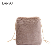 Western style Luxury Plush Fur Lady's Day Clutches Handbag Women's Bag Fold Over Envelope Bag Winter Warm Small Flap Chain Pouch