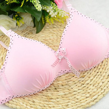 2017 Teenager Young Girl's Bra Soft Wire Free Pink Dot Cotton Bralette Underwear for Teens 12 to 17 Years