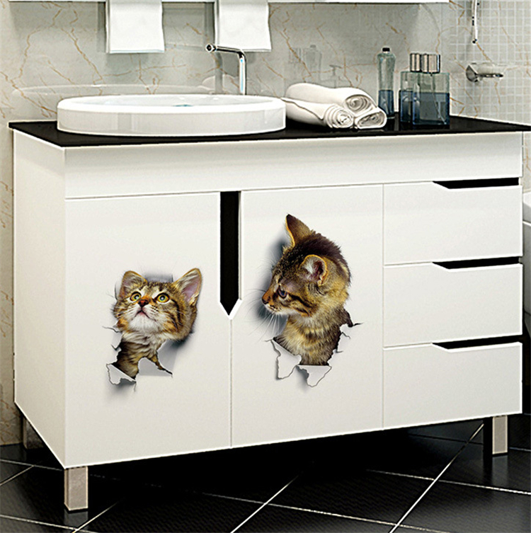 HTB1lmWrjlTH8KJjy0Fiq6ARsXXaY - 3D Lovely Cat Wall Sticker