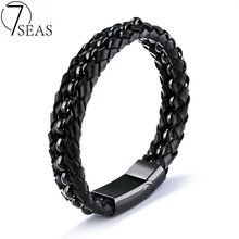 Buy 7SEAS Vintage Handmade Braided Leather Bracelet Man Party Accessories Jewelry Black Weaved Charm Bracelet Drop 7S1142 for $8.32 in AliExpress store