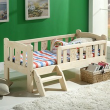 Modern Fashion Solid Wood Children Bed Widen Lengthen Baby  Pine Wooden Bed With Ladder Fence Storage Drawer Baby Crib