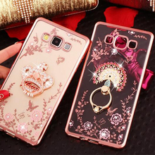 New Luxury Flower Soft TPU Silicone Ring Holder Phone Case For Samsung Galaxy J1 2016 J3 J5 J7 A5 A7 J2 Prime Grand Capa Cover(China)