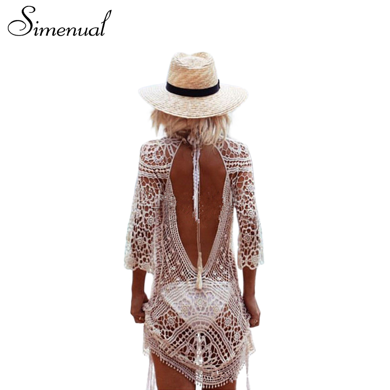 Simenual Backless cut out summer lace beach dresses ladies 2017 casual new hollow out sexy hot women dress white pareos swimwear(China (Mainland))