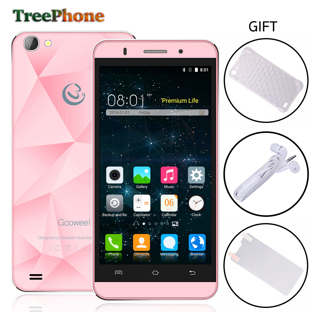 Gooweel M5 Pro mobile phone 5 inch IPS screen MTK6580 quad core smartphone 5MP+8MP camera GPS 3G cell phone Free Gift(China)