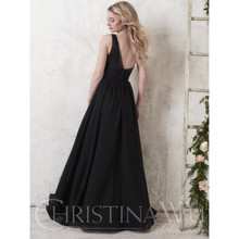 2017 Black Bridesmaid Dresse Fully Black sequined bodice And White chiffon skirts 22747 Party Gowns