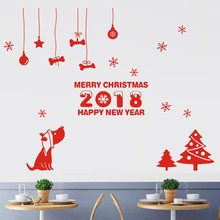 Creative New Year wall stickers christmas decorations home DIY Merry Christmas Wall Sticker Home Shop Windows decoracion hogar(China)