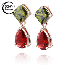 SOXY 2017 New High Quality Retail  Gold Color Ladies Colorful Crystal  Women Stud Earrings Fashion Jewelry.brincos bijoux