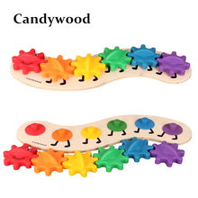 35CM Kids Colorful Gear Caterpillar Toys Wooden toy Educational Toys Wood Intelligence Baby DIY Toy(China)