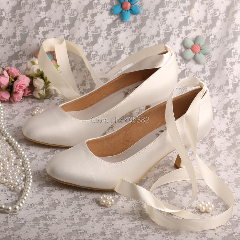Bride Collections Womens Round Toe Ribbon Tie Mid Heel Satin Bridal Wedding Shoes Beige<br>