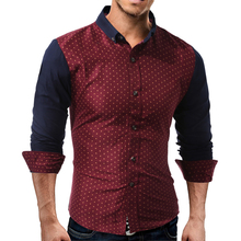 2017 New Autumn Fashion Brand Men Clothes Slim Fit Men Long Sleeve Shirt Men Polka Dot Casual Men Shirt Social Plus Size 3XL