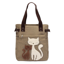 2017 New arrive Women Solid color Shoulder Bag Canvas Bag Cute Cat print Ladies Handbag Women  Casual Large Tote Bag  7 colors