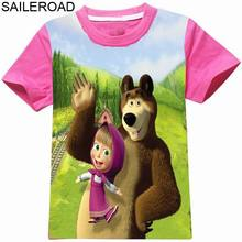 SAILEROAD Brands 2 To 9Years MASHA AND BEAR Children Girls Tops Tees T Shirt New 3D Pattern Cartoon Baby Girls T Shirts Clothing